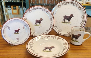 CR10317.BHS - 20pc Classic Rustic Big Horn Sheep with Antler rim  Dinnerware Set (Out of Stock) CR10317.BHS