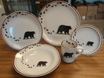 CR10317.BLKBTRX - 20pc Classic Rustic Black Bear with Tracks Dinnerware Set CR10317.BLKBTRX