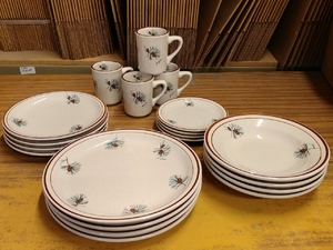CR10317.PINE - 20pc Classic Rustic Pine Cone Dinnerware Set CR10317.PINE