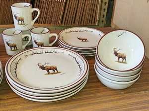 CR10348.ELKBANT - 16pc Classic Rustic Standing Elk with Antlers Dinnerware Set CR10348.ELKBANT