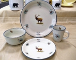 CS10274.ELKBPINE - Cabin Series Elk with Accented Pine Cones Dinnerware Set (16 pc) CS10274.ELKBPINE