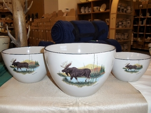 CS10275.LMW - Cabin Series 3pc Scenic Moose Serving/Mixing Bowl Set CS10275.LMW