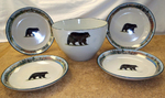 CS10276.BLKBMTN - Cabin Series 5pc Standing Black Bear Pasta/Salad Set with Mountain Scenic Rim CS10276.BLKBMTN