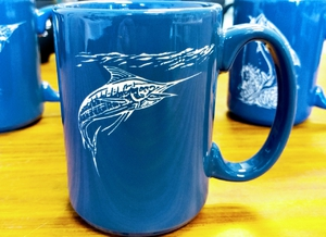 EL10343E.MAR - 15 oz. Ocean Blue  El Grande Mug - Sand Carved Marlin EL10343E.MAR