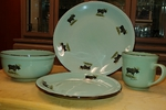 FM10208.MOSB - 16pc Fresh Meadow Dinnerware Set - Standing Moose FM10208.MOSB