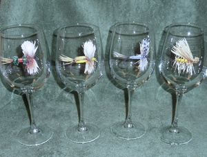 GP10123.FLYA 19oz. Elegance Dry Flies Series Tulip Wine Glasses (Set of 4) GP10123.FLYA
