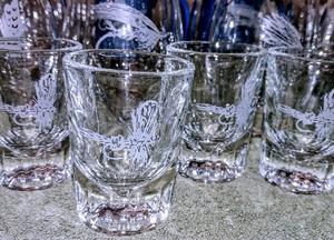 GP10127E.RLY - Whiskey Shot Glasses 2oz. - Sand Carved (Etched) - Royal Wulff (Set of 4) GP10127E.RLY