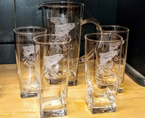 GP10192E.JTRTS.Sand Carved Dancing Rainbow Sq Pitcher and Sq Beverage Glasses (5 pc set) GP10192E.JTRTS