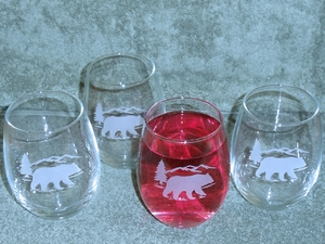 GP10201E.BERS - Stemless Wine Tumblers 3 Size Options - Sand Carved - Bear and Mountain Silhouette (Set of 4) GP10201E.BERS