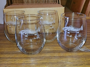 GP10201E.RED - Stemless Wine Goblets 3 Size Options - Sand Carved - Redfish  (Set of 4) GP10201E.RED