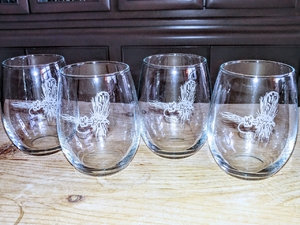 GP10201E.RLY - Stemless Wine Goblets 3 Size Options - Sand Carved - Royal Wulff Dry Fly (Set of 4) GP10201E.RLY