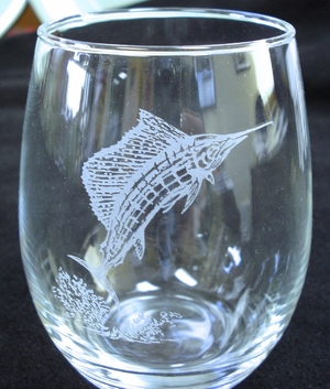 GP10201E.SLF - Stemless Wine Tumblers 3 Size Options - Sand Carved - Sailfish (Set of 4) GP10201E.SLF