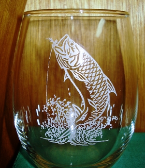 GP10201E.TRP - Stemless Wine Tumblers 3 Size Options - Sand Carved - Tarpon (Set of 4) GP10201E.TRP