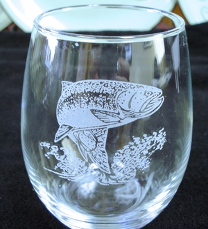 GP10201E.TRT - Stemless Wine Goblets 3 Size Options - Sand Carved - Rainbow Trout  (Set of 4) GP10201E.TRT