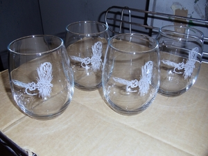 GP10202E.RLY - Stemless Wine Goblets 3 Size Options - Sand Carved - Royal Wulff Dry Fly (Set of 4) GP10202E.RLY