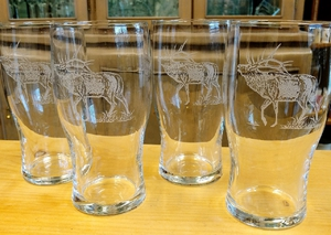GP10319E.ELK - 20oz Sand Carved Bugling Elk Conical Schooner Pub Glass (set of 4) GP10319E.ELK