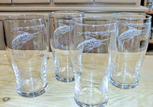 GP10319E.MAR - 20oz Sand Carved Marlin Conical Schooner Pub Glass (set of 4) GP10319E.MAR