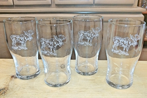 GP10319E.MOSB - 20oz Sand Carved Moose Conical Schooner Pub Glass (set of 4) GP10319E.MOSB