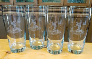 GP10340E.FFM -  Fly Fisherman 20oz. Sand Carved Pub Glasses GP10340E.FFM
