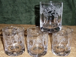 GP428.LEVW - Round Dimpled Hi-Ball Glasses - Sand Carved - Leaves Wrap (Set of 4) GP428.LEVW