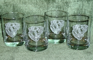 GP432.BLAB - Round Hi-Ball Glasses - Sand Carved - Black Lab (Set of 4) GP432.BLAB