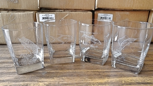 GP434.KEYW - Square Hi-Ball Glasses - Sand Carved - Key West Big Game Fish Series  (Set of 4) GP434.KEYW