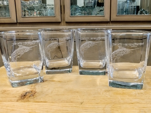 GP434.MAR - Square Hi-Ball Glasses - Sand Carved - Marlin  (Set of 4) GP434.MAR