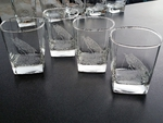 GP434.TRP - Square Hi-Ball Glasses - Sand Carved - Tarpon (Set of 4) GP434.TRP