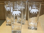 GP438.BERS - Square Tapered Beverage Glasses - Sand Carved - Bear and Mountain Silhouette (Set of 4) GP438.BERS