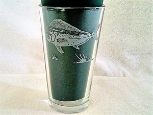 GP450.DOL - Sand Carved Pint Glass - Dolphin (set of 4) GP450.DOL