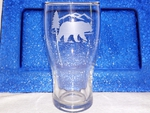 GP10319E.BERS - 20oz Conical Schooner Pub Glass  - Sand Carved -  Bear and Mountain Silhouette (Set of 4) GP10319E.BERS
