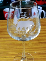 18oz. Diamond Balloon Wine  - Sand Carved Bear Silhouette with Name Drop GW10339E.Custom.BERSND