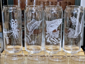 GP10345E.VARIOUS - 16oz Tallboy Can Glasses - Sand Carved - Etched GP10345E.VARIOUS