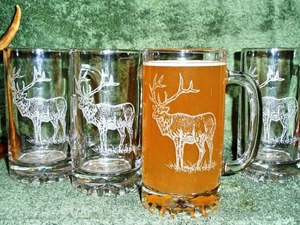 GP410.ELKB -  Glass Tankard Steins - Sand Carved - Elk Body (Set of 4) GP410.ELKB