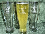 GP420.FFM -  Fly Fisherman Pilsner Glasses 16 oz. - Sand Carved (Set of 4) GP420.FFM