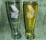 GP421.TRP - Tarpon Pilsner Glasses 16 oz. - Sand Carved - Set of 2 GP421.TRP