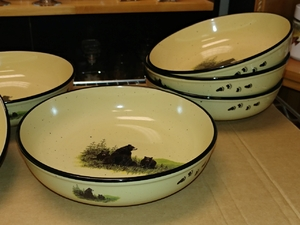 2pc Lodge Collection Serving Bowl - Bear and Cubs with Paw Tracks LC10052.LBFTRX