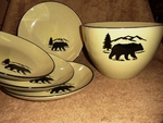LC10278.BERS - Lodge Collection 5pc Bear SIlhouette Pasta/Salad Set LC10278.BERS