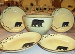 LC10278.BLKBTRX - Lodge Collection 5pc Black Bear with Tracks Pasta/Salad Set LC10278.BLKBTRX