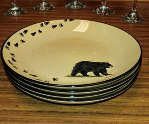 4pc Lodge Collection Black Bear with Tracks Appetizer Plates LCAP.BLKBTRX