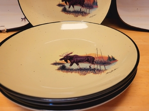 4pc Lodge Collection Moose Scene Appetizer Plates LCAP.LMW