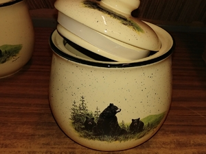 Lodge Collection Large Cookie Jar - Signature Series - Landscape Bear and Cubs LCCJ.LBF