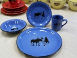 RP10326.MOSS - 16pc. Rustic Pioneer Stoneware Dinnerware Set - Moose and Tree Silhouette RP10326.MOSS