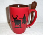 SB10302.WTDS - Whitetail Deer Silhouette 16oz. Crimson Red Spoon Bistro  SB10302.WTDS