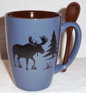 SB10303.MOSS - Moose and Tree Silhouette 16oz. Steel Blue Spoon Bistro SB10303.MOSS