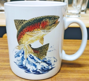 SM114.JTRT - Dancing Rainbow Trout Super Sized White 30oz. Mega Mug  SM114.JTRT