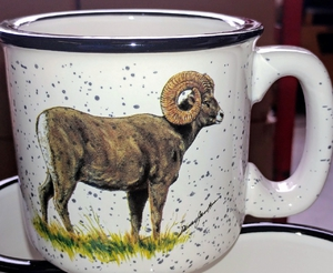 TM10178.BHS - 15oz White Trail Mug - Big Horn Sheep TM10178.BHS
