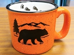 TM10341.BERSTRX - 15oz Bright Orange Trail Mug - Black Bear Silhouette W/Tracks TM10341.BERSTRX
