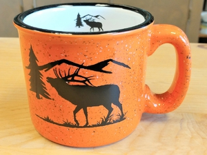 TM10341.ELKS - 15oz Bright Orange Trail Mug - Bugling Elk Silhouette TM10341.ELKS