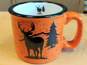TM10341.WTDS - 15oz Bright Orange Trail Mug - Deer Silhouette TM10341.WTDS